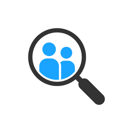 Search job vacancy icon in flat style. Loupe career vector illustration on white isolated background. Find people employer business concept. 向量圖像