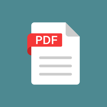 Icône pdf dans un style plat. Illustration vectorielle de document texte sur fond isolé blanc. Concept d'entreprise d'archives. Vecteurs