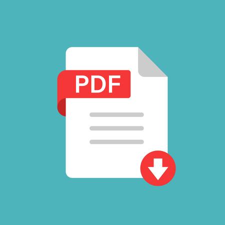 Icona pdf in stile piatto. Documento testo illustrazione vettoriale su sfondo bianco isolato. Archivio concetto aziendale.