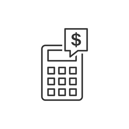 Money calculation icon in flat style. Budget banking vector illustration on white isolated background. Financial payment business concept.