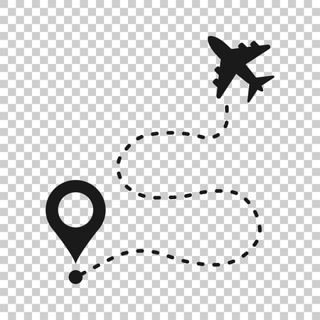 Airplane flight route icon in transparent style. Travel line path vector illustration on isolated background. Dash line trace business concept. Vector Illustratie