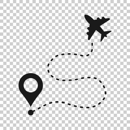 Icono de ruta de vuelo de avión en estilo transparente. Ilustración de vector de ruta de línea de viaje sobre fondo aislado. Concepto de negocio de seguimiento de línea de tablero. Ilustración de vector