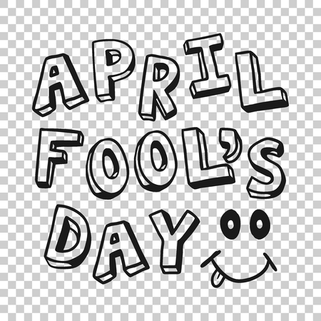 April fools day text icon in transparent style. Happy banner vector illustration on isolated background. Funny carnival business concept.