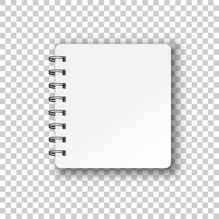 Icône de bloc-notes maquette vierge dans un style transparent. Cahier à spirale vector illustration document sur fond isolé. Concept d'entreprise de modèle de page papier journal. Vecteurs