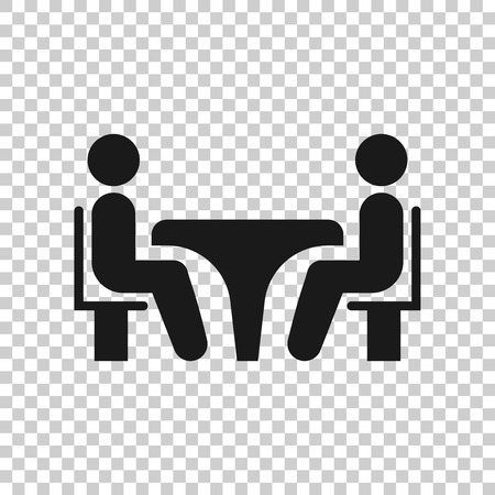 Business consulting icon in transparent style. Two people with table vector illustration on isolated background. Restaurant dialog business concept.