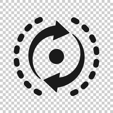 Oval con icono de flechas en estilo transparente. Ilustración de vector de repetición de coherencia sobre fondo aislado. Recargar el concepto de negocio de rotación.