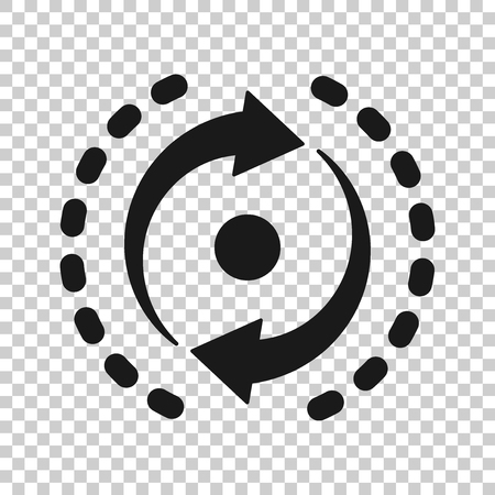 Oval with arrows icon in transparent style. Consistency repeat vector illustration on isolated background. Reload rotation business concept.