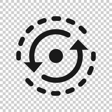 Ovale avec icône de flèches dans un style transparent. Illustration vectorielle de répétition de cohérence sur fond isolé. Recharger le concept d'entreprise de rotation.