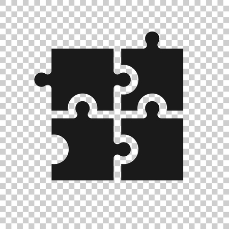 Puzzle compatible icon in transparent style. Jigsaw agreement vector illustration on isolated background. Cooperation solution business concept. Illustration