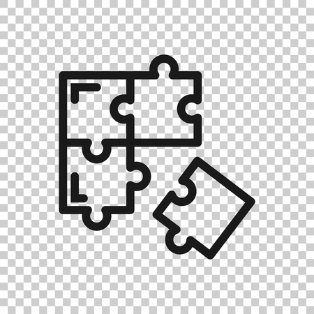 Puzzle compatible icon in transparent style. Jigsaw agreement vector illustration on isolated background. Cooperation solution business concept. Çizim