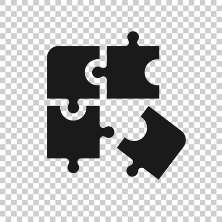 Puzzle compatible icon in transparent style. Jigsaw agreement vector illustration on isolated background. Cooperation solution business concept. Stock Vector - 122797793