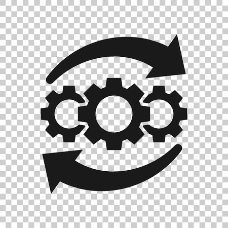 Operation project icon in transparent style. Gear process vector illustration on isolated background. Technology produce business concept. Ilustração