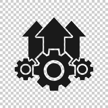 Betriebsprojektsymbol im transparenten Stil. Zahnradprozess-Vektorillustration auf lokalisiertem Hintergrund. Technologie produzieren Geschäftskonzept.