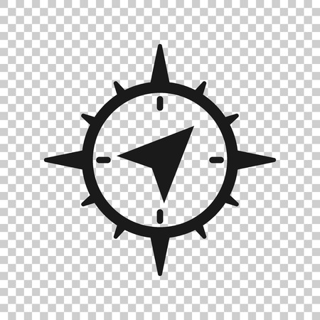 Global navigation icon in transparent style. Compass gps vector illustration on isolated background. Location discovery business concept. Banco de Imagens - 122797804