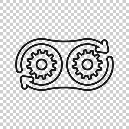 Development icon in transparent style. Devops vector illustration on isolated background. Cog with arrow business concept. Çizim