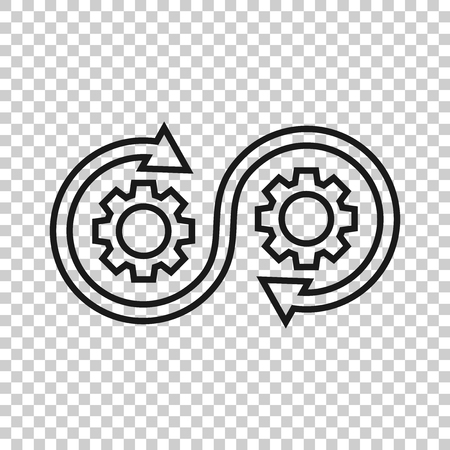 Development icon in transparent style. Devops vector illustration on isolated background. Cog with arrow business concept. Ilustracja