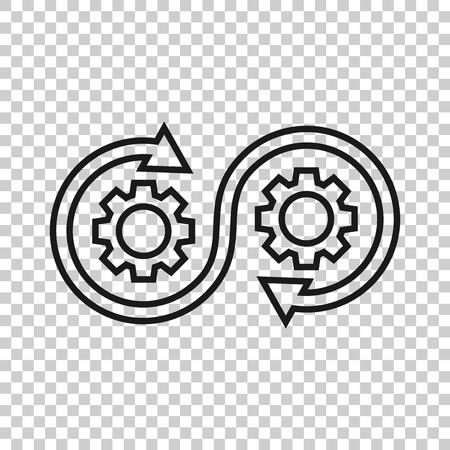 Icono de desarrollo en estilo transparente. Ilustración de vector de Devops sobre fondo aislado. Cog con concepto de negocio de flecha.