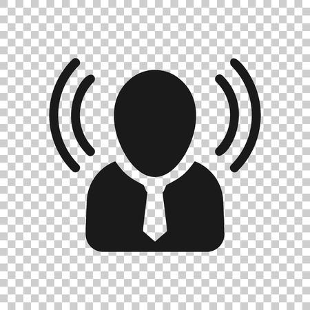 Icono de conciencia mental en estilo transparente. Ilustración de vector humano idea sobre fondo aislado. Concepto de negocio de cerebro de cliente.