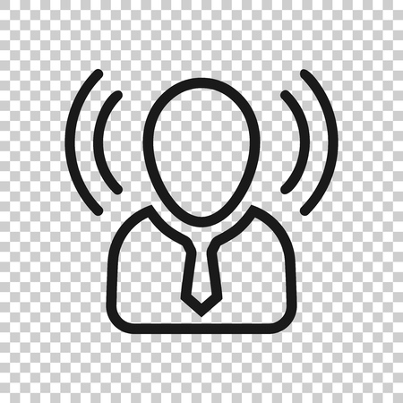 Geest bewustzijn pictogram in transparante stijl. Idee menselijke vectorillustratie op geïsoleerde achtergrond. Klant hersenen bedrijfsconcept.