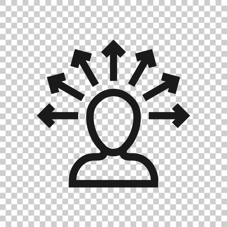 Mind awareness icon in transparent style. Idea human vector illustration on isolated background. Customer brain business concept. Illustration