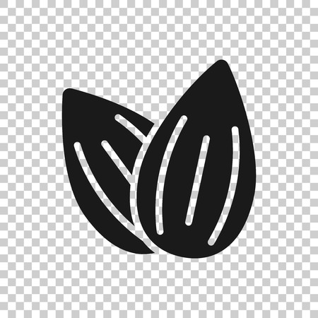 Almond icon in transparent style. Bean vector illustration on isolated background. Nut business concept.