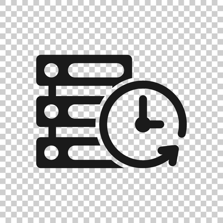 Rechenzentrumssymbol im transparenten Stil. Uhrvektorillustration auf lokalisiertem Hintergrund. Geschäftskonzept ansehen.