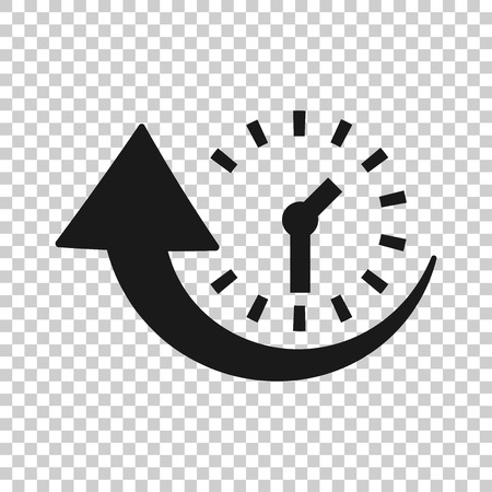 Downtime icon in transparent style. Uptime vector illustration on isolated background. Clock business concept. Illustration