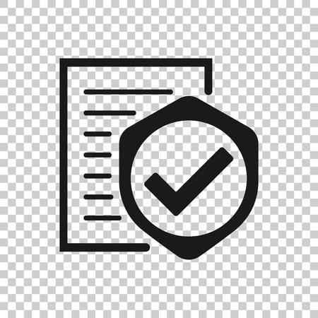 Versicherungssymbol im transparenten Stil. Melden Sie Vektorillustration auf isoliertem Hintergrund. Geschäftskonzept dokumentieren.