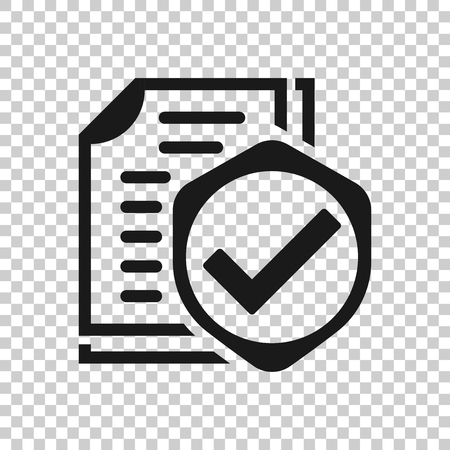 Insurance policy icon in transparent style. Report vector illustration on isolated background. Document business concept.
