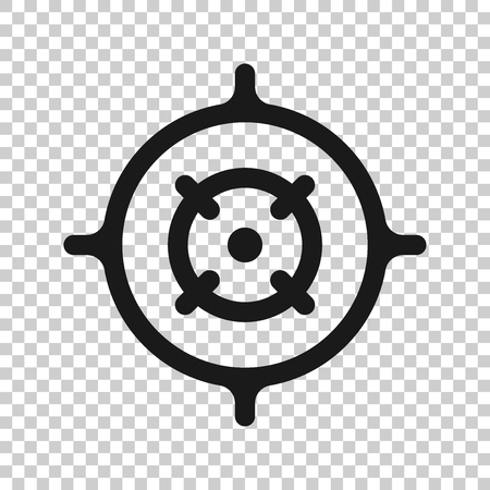 Shooting target vector icon in transparent style. Aim sniper symbol illustration on isolated background. Target aim business concept.  イラスト・ベクター素材