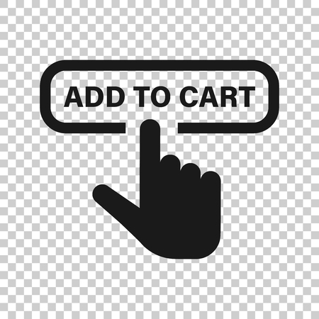 Add to cart shop icon in transparent style. Finger cursor vector illustration on isolated background. Click button business concept.