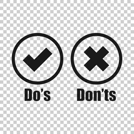 Do's and don'ts sign icon in transparent style. Like, unlike vector illustration on isolated background. Yes, no business concept. Ilustração