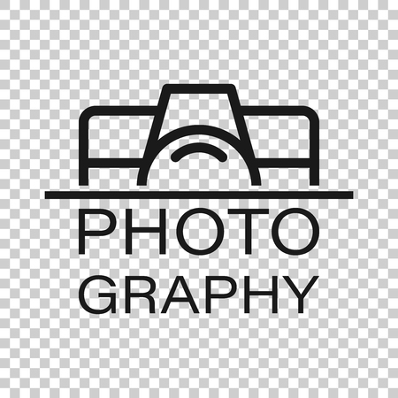 Camera device sign icon in transparent style. Photography vector illustration on isolated background. Cam equipment business concept.
