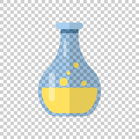 Chemistry beakers sign icon in transparent style. Flask test tube vector illustration on isolated background. Alchemy business concept.