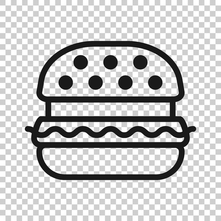 Burger sign icon in transparent style.