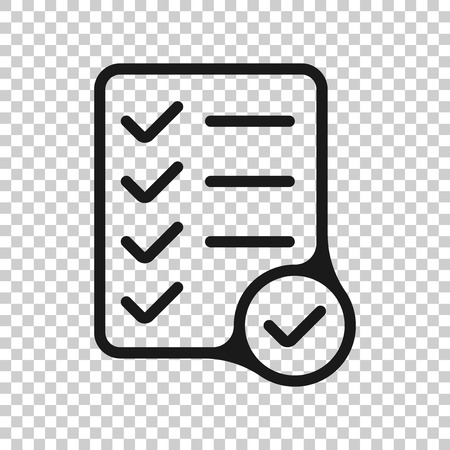Checklist document sign icon in transparent style.
