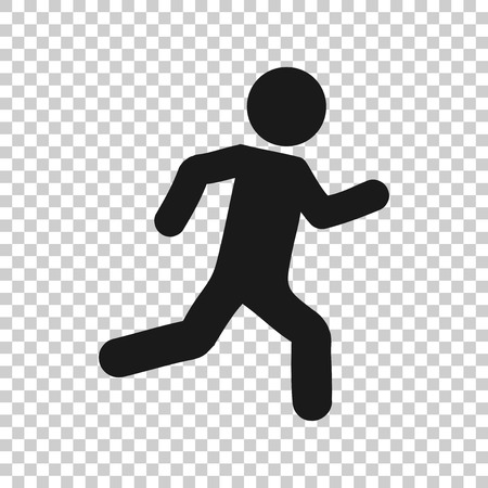 Running people sign icon in transparent style. Run silhouette illustration on isolated background. Motion jogging business concept. Illustration