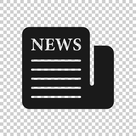 Newspaper icon in transparent style. News vector illustration on isolated background. Newsletter business concept.