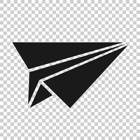 Paper airplane icon in transparent style. Plane illustration on isolated background. Air flight business concept. Stock Illustratie