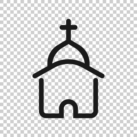 Church icon in transparent style. Chapel illustration on isolated background. Religious building business concept. Иллюстрация