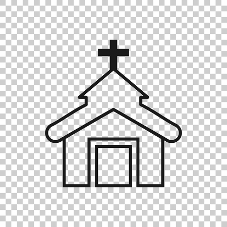 Church icon in transparent style. Chapel illustration on isolated background. Religious building business concept. Çizim