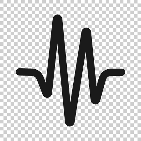 Icono de onda de sonido en estilo transparente. Ilustración de latidos del corazón sobre fondo aislado. Concepto de negocio de ritmo de pulso. Ilustración de vector