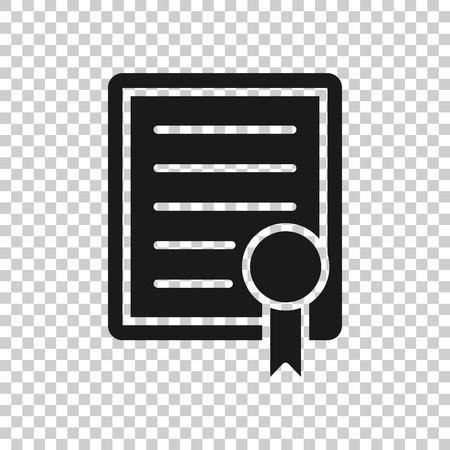 Zertifikatssymbol im transparenten Stil. Lizenzabzeichenillustration auf lokalisiertem Hintergrund. Gewinnermedaille Geschäftskonzept. Vektorgrafik