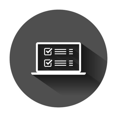 Online survey sign icon in flat style. Questionnaire  vector illustration on black round background with long shadow. Laptop, computer screen banner business concept.  イラスト・ベクター素材