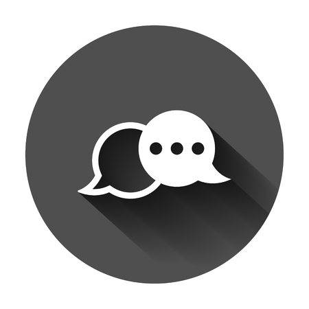 Speak chat sign icon in flat style. Speech bubbles vector illustration on black round background with long shadow. Team discussion button business concept.