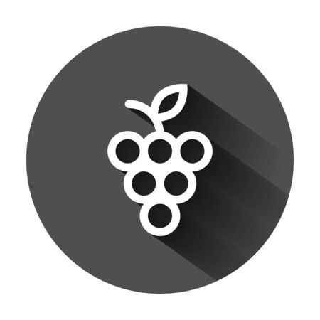Grape fruits sign icon in flat style. Grapevine vector illustration on black round background with long shadow. Wine grapes business concept.