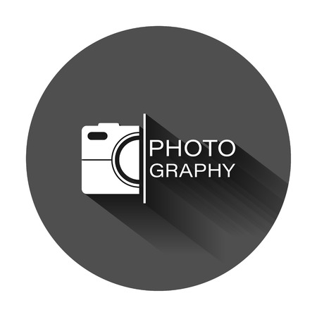 Camera device sign icon in flat style. Photography vector illustration on black round background with long shadow. Cam equipment business concept. Vector Illustration