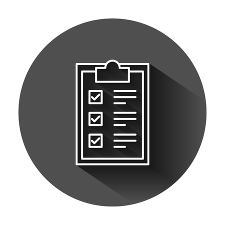 Checklist clipboard sign icon in flat style. Document list vector illustration on black round background with long shadow. Questionnaire notepad business concept. Ilustrace