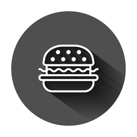 Burger sign icon in flat style. Hamburger vector illustration on black round background with long shadow. Cheeseburger business concept. Archivio Fotografico - 129108702