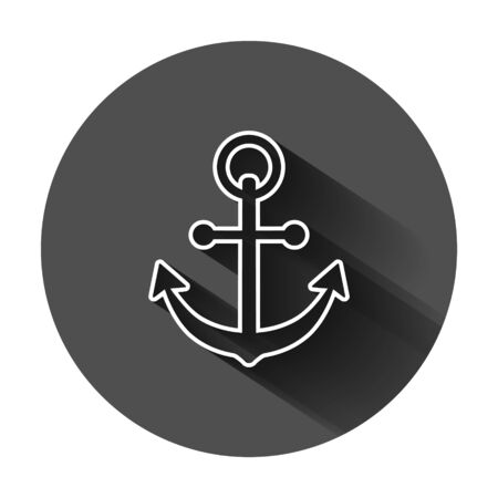 Boat anchor sign icon in flat style. Maritime equipment vector illustration on black round background with long shadow. Sea security business concept. Stock Illustratie